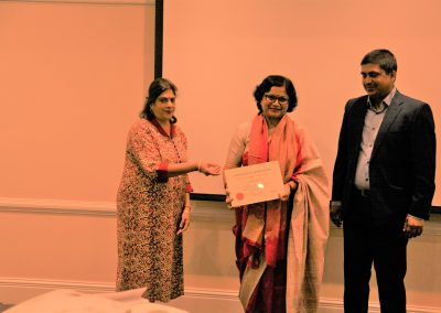 Mrs. Pattanayak with cert of appreciation